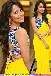Vinayak Textile Women's Yellow colored Pure Georgette Bollywood Party Wear Saree