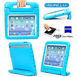 iPad 2/3/4 Case - Travellor® Kids Light Weight Kido Series Multi Function Convertible Handle Kickstand Kids Friendly Protective Shockproof Cover with Stand & Handle for Apple iPad 2/3/4 (Blue)