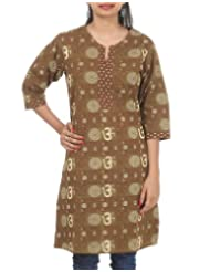 Rajrang Women's Wear Cotton Hand BLock Printed Long Kurta Tunic Size L