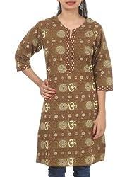 Rajrang Womens Cotton Brown Large Kurta