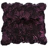 Purple Aubergine Roses Shabby Chic Silk Cushion Covers 18 x 18 inch