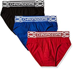 Chromozome Men's Cotton Brief (Pack of 3) (8902733346993_CR 01_X-Large_Black, Blue and Red)