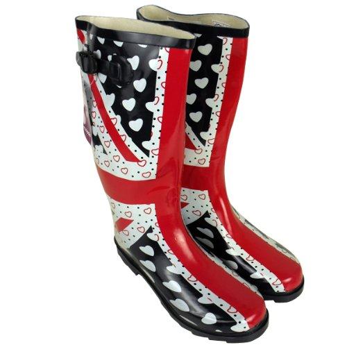 Womens Wellington Boots Union Jack Printed Rain Snow Winter Wellies Ladies 4-8