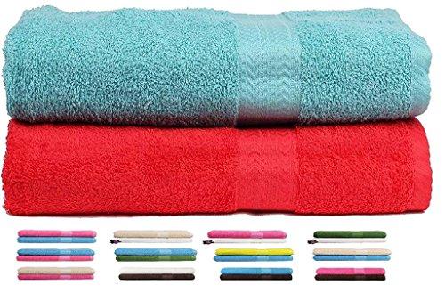 trident-2-piezas-450-gsm-toalla-de-bano-algodon-combo-set-azul-claro-y-rojo