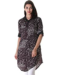 ESTYLe Leopard Print Polyester Kurta With Fold Up Sleeve