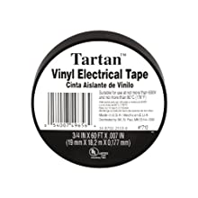 3M Tartan Vinyl Plastic Electrical Tape, Black, .75-Inch by 60-Feet (1710)