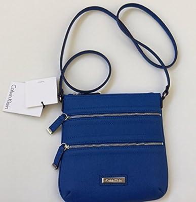 Calvin Klein Saffiano Leather Cross Body Messenger Bag - Cornflower Blue