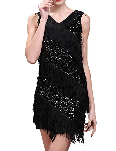 KAYAMIYA Women's 20S V Neck Glitter Beaded Fringe Flapper Costume Party Dress
