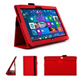 DURAGADGET Executive Red Faux Leather Folio Case With Built In Stand Custom Designed For The Microsoft Surface 10.6 Inch Tablet (With Windows RT, 32GB, 64GB, Type Cover Keyboard)