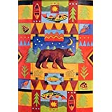 Northern Lodge Bear House Flag Fish Trees Canoe Primitive 29
