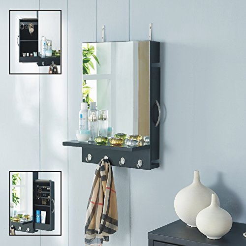 Danya B Black Cabinet Mirror with Hidden Sliding Jewelry Door and Hanging Hooks (Sliding Mirror compare prices)