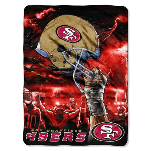 NFL San Francisco 49ers 60-Inch-by-80-Inch Plush Rachel Blanket, Sky Helmet Design at Amazon.com
