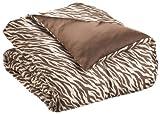Royal Opulance Woven Satin Comforter Mini Set Zebra, Brown/Ivory, King