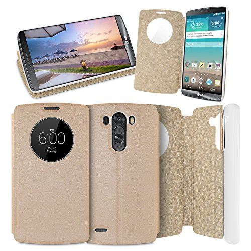 Orzly® - Lg G3 - Circle Window Case - Gold Champagne Phone Cover Skin With Circlular Window For Clock Display And Battery Level Indicator For Easy Viewing Whilst Closed - Designed By Orzly® Exclusively For Lg G3 Smartphone - Fits All 2014 Models (Includin