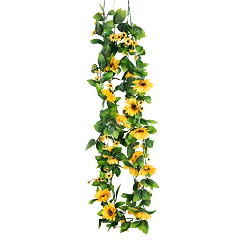 2pcs Artificial Sun Flower Garland Hanging Plant Vine 6.8 feet for Home Party Wedding Garden Decor DIY Wreath