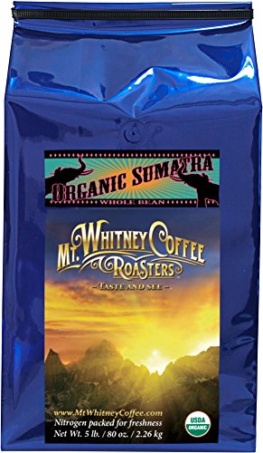 Mt. Whitney Coffee Roasters: 5 Lb. Usda Certified Organic, Shade Grown Gayo Mountian Sumatra, Single Origin, Dark Roast, Whole Bean Arabica Coffee
