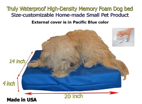 "Home-Made Truly Waterproof Customizable 20""X14""X4"" Memory Foam Premium Pacific Blue Twill Cat Dog Bed"