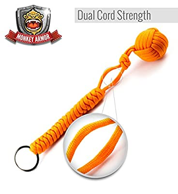 Orange Monkey Fist Self Defense Keychain | 550lb Military Grade Tensile | Double Corded For Maximum Stability And Support | 1 Inch Steel Ball | Ultimate Survival Tool & 100% Monkey Back Guarantee from Monkey Armor