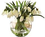 Snowdrop Arrangement Artificial Silk Flower Spring Decoration Plant Glass Vase