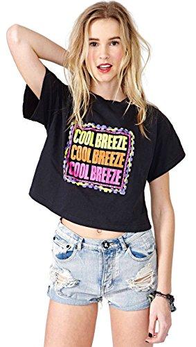 Stile Classico di Base Colorato Cool Breeze Graphic T-Shirt Maglietta Tee Boxy Crop Cima Top Nero XL