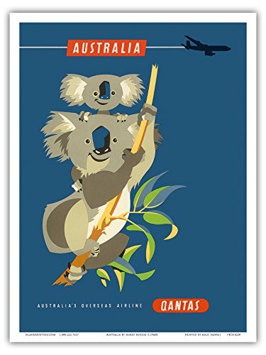 australie-koalas-qantas-empire-airways-qea-compagnie-aerienne-vintage-airline-travel-poster-by-harry