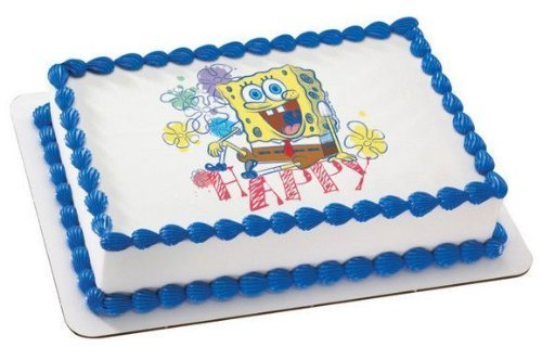 1/4 Sheet ~ Spongebob Happy Birthday ~ Edible Image Cake/Cupcake Topper!!! - 1