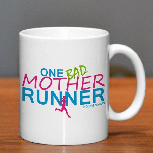 Running Ceramic Mug One Bad Mother Runner - White