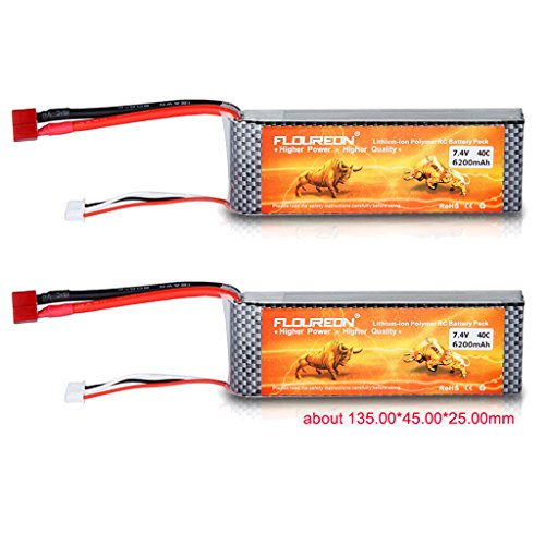2X-FLOUREON-74V-6200mAh-40C-Lipo-RC-Akku-mit-Dean-Style-T-Stecker-fr-RC-Modellbau-Auto-Truck-Boote-Helikopter-Hubschrauber-Helicopter-Airplane-Flugzeug-Hobby-DIY