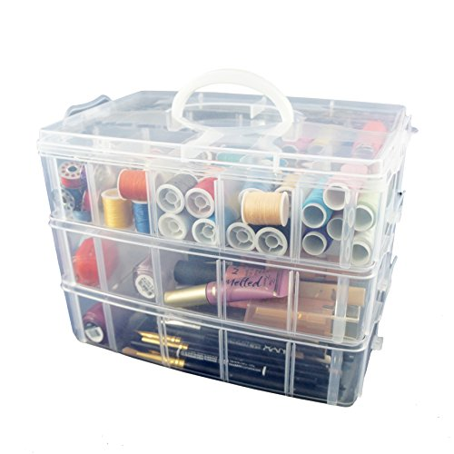 Bins & Things Storage Container with 30 Adjustable Compartments for Storing & Organizing Sewing Embroidery Accessories Threads Bobbins Beads Beauty Supplies Nail Polish Jewelry Arts & Crafts. (Sewing Travel Organizer compare prices)