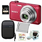 SONY Cyber-shot DSC-WX80/R Compact Zoom Digital Camera in Red + 32GB Secure Digital Memory Card + Sony Digital Camera Case + Sony Case in Pink + 25 Free Quality Photo Prints + Lithium Ion Rechargeable Battery + Enhanced Lens Cleaning Kit