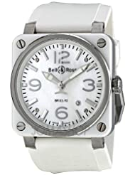 Cheap Price Bell and Ross Aviation Mother of Pearl White Rubber Automatic Mens Watch BR0392-WHT-CERUB USA Sale