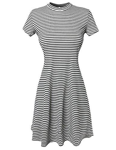 Short Sleeve Keyhole Ribbed Striped Trapeze Dress White Black Size M
