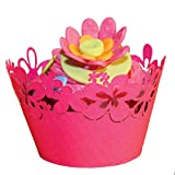 Paper Orchid Happy Flowers Cupcake Wrapper Tropical Pink Shimmer, Set of 12