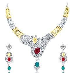 Sukkhi Glorious Gold And Rhodium Plated AD Necklace Set for Women