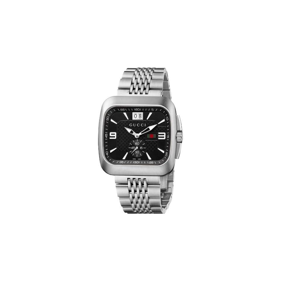bd02041bb65 Gucci Mens YA131305 Gucci Coupé Steel Bracelet Black Dial Watch on ...
