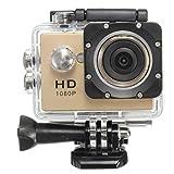Topjoy スポーツカメラ 多機能 1080P 2インチLCDスクリーン 30m防水 140度広角レンズ 12MP ハルメット式 防水ビデオカメラ アアクセサリキット付き スポーツや空撮に最適 (ゴールド)