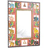 ATE Wooden Mirror Cum Photo Frame Show Piece- (28 Cm X 2 Cm X 38 Cm, Red)