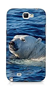 Amez designer printed 3d premium high quality back case cover for Samsung Galaxy Note 2 N7100 (Watch me swim polar bear sea animal)