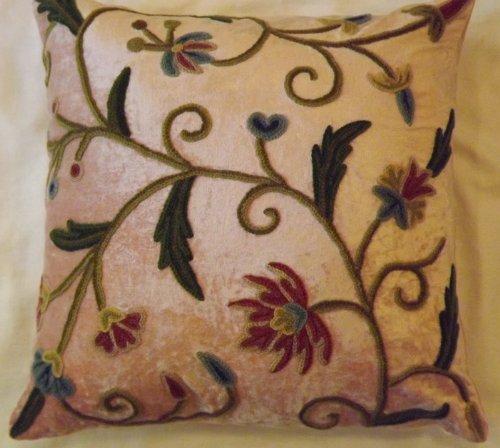 Crewel Pillow Sham Tech Bright Rose Pink Cotton Viscose Velvet16 (16X16)