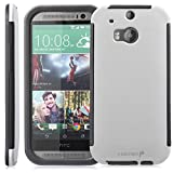 Fosmon® HTC One M8 Case (HYBO-SNAP) Full-Body Hybrid Protective Case Cover with Built-In Screen Protector for All New HTC One M(8) 2014 - Fosmon Retail Packaging (White)