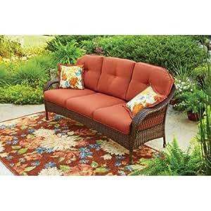 Azalea ridge all weather wicker outdoor sofa for Sofa exterior amazon