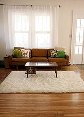 Fur Accents Premium Faux Fur Rectangle Sheepskin Throw Rug Plush Off White Shaggy Shag Nursery Area Toss Carpet