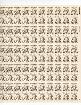 Henry Knox Sheet of 100 x 8 Cent US Postage Stamps NEW Scot 1851