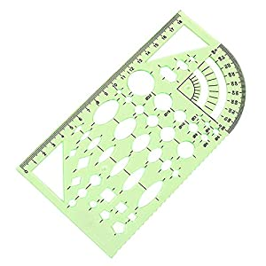 2PCS Plastic Green Measuring Templates Geometric Rulers for Office and School, Building formwork, Drawings Templates by CSPRING (Color: Green)