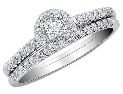Order diamond engagement ring and wedding band set 1 2 for Low cost wedding ring sets
