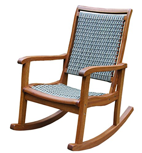 Outdoor interiors resin wicker and eucalyptus rocking chair brown and grey the lawn garden for Outdoor interiors eucalyptus rocking chair