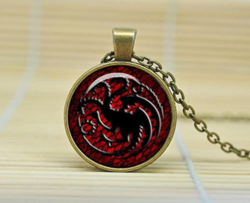 SunShine Day House Targaryen Game Of Thrones Dragon Necklace Glass Cabochon Necklace A3488