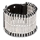 """Streets Ahead 1 3/4"""" Black Beaded Accent with Antique Silver Stretch Cuff Bracelet"""