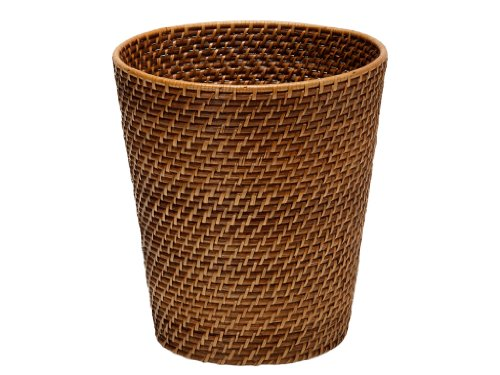 KOUBOO Round Rattan Waste Basket, Honey Brown (Wicker Garbage Can compare prices)