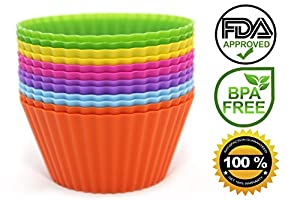 Venice Kitchen Silicone Baking Cups, Set of 12 Reusable Non-stick Cupcake Liners / Molds in 6 Vibrant Colors and Storage Container - Great for Bento Lunch Box, Making Halloween Candy, Chocolates, Popsicles - FDA Approved, Bpa Free - Oven, Freezer, Microwa